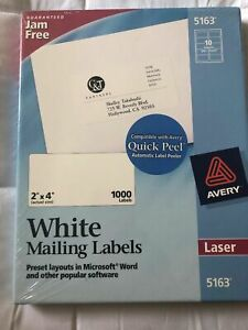 Avery 5163 White Shipping Labels Laser Printer 2 X 4 100 Sheets 1000 Labels B2
