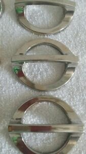 Set Of 9 Large Silver Mid Century Modern Round Oval Drawer Pulls Handles