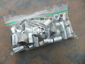 Large Lot Of 47 Various Makes And Sizes Of Small Drive Sockets Us