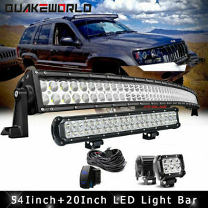 Curved 54inch Led Light Bar 20inch 4 Cube Pods Offroad Suv 4wd Vs Striaght 52 22