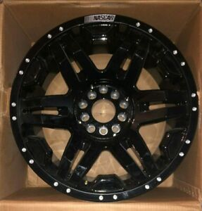 Nascar N301 Gloss Black Wheel With Milled Rivets 20 X 9 5x5 15mm Offset