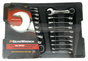 Gearwrench 20 Pc Sae Metric Stubby Combination Wrench Set 81903
