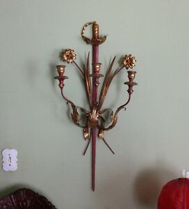 Antique Italian Tole Wood Metal Sword Palladio Sconce Neo Classical 19th C