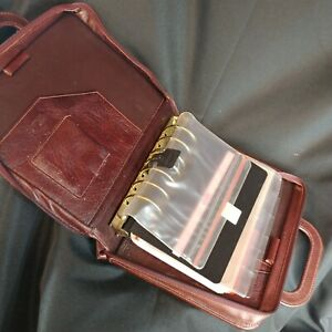 Day Planner Briefcase Style Retractable Handles Leather 7 Rings Cool Used Look