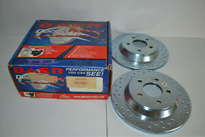 New Baer Rear Brake Rotor Pair Sport Bullitt Mach 1 Cobra Ford Mustang 94 04