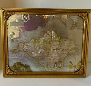 Vintage Isle Of Wight England Foil Print Map With Vintage Brass Ornate Frame