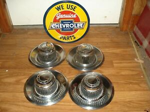 Set Four Chevy Corvette Camaro Chevelle Gm Rally Wheel Center Cap 3925805 Oem