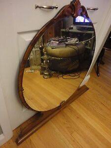 Vtg Antique Art Deco Vanity Lrg Round Mirror Table Top Wall Or Dresser Mount