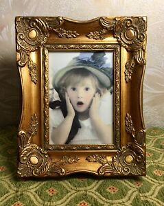 Antique Style Vintage Wood Gesso Picture Frame Ornate Gold Rococo 5 X7