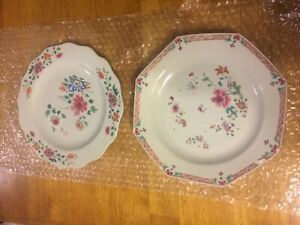 Antique Chinese Export Porcelain Plate Lot Of 2