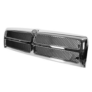 Chrome Grille W Insert For 94 02 Dodge Ram Pickup 1500 2500 3500 Ch1200178 New