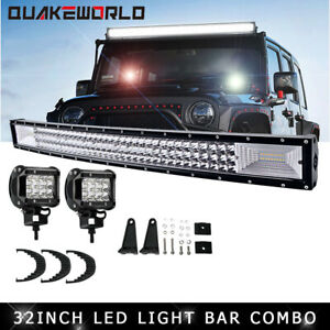 32inch Tri row Curved Led Light Bar Combo Fit Off road Suv Ute Atv Vs 42 50 52