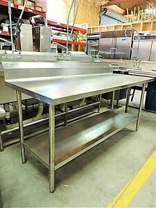 24 X 72 Stainless Steel Work Table With Back Splash And Lower Shelf Used