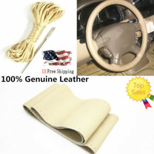 For F 150 Beige Genuine Leather Diy Car Steering Wheel Cover Needles And Thread