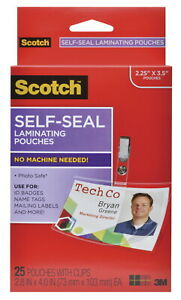 Scotch Self sealing Laminating Pouch 2 4 5 X 4 Inches Clear Pack Of 25