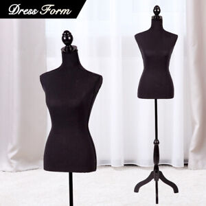 Female Mannequin Torso Dress Colthing Form Body Display W Tripod Stand Black