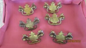 6 Small Vintage Brass Chippendale Style Drawer Pulls 2 Center To Center Old