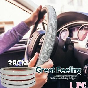 38cm 15 Bling Pu Leather Steering Wheel Cover Crystal Rhinestone Ring Sticker