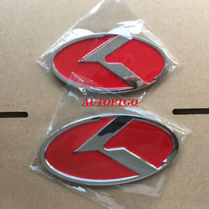 Red 130 110 Front rear K Emblems Badge Decal For Kia Optima Stinger Forte Cerato