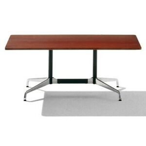 Eames Table With Rectangular Top And Segmented Base Mahogany Top 2 Available