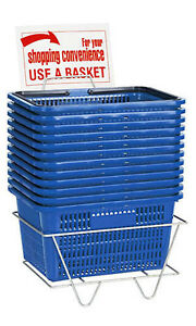 Shopping Baskets Set Of 12 Blue Standard Plastic Handles W Metal Stand
