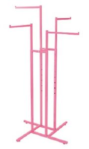 4 way Clothing Rack Hot Pink Straight Arm Garment Retail Display 48 72 H