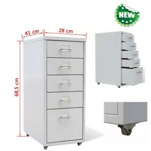 Rolling File Cabinet Heavy Duty Mobile Storage Filing Cabinet W 5 Drawers Gray