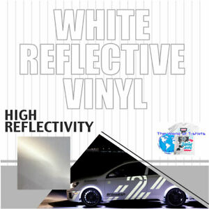 White Reflective Vinyl Adhesive Sign Plotter High Reflectivity 12 x 5 Feet