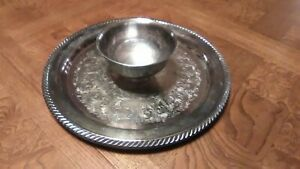 12 Oneida Wm A Rogers Silverplate Serving Tray With Bowl