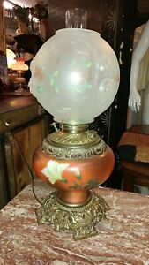 Antique Parlor Oil Table Lamp Hand Painted Base Beautiful