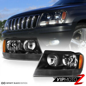 For 99 04 Jeep Grand Cherokee Wj clear Signal Bar Black Headlights Assembly