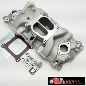 Small Block Chevy Satin Cast Aluminum Intake Manifold Dual Plane 350 400 1955 95