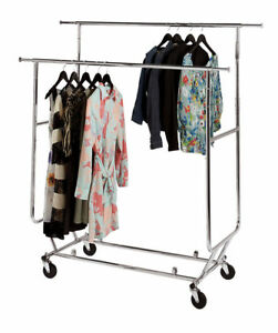 Clothing Rack Double Rail Bar Commercial Folding Garment Rolling Adjustable