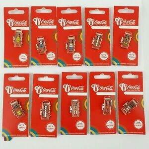 20 Official Coca Cola Olympics London 2012 Pin Badges National Flag phone boxes