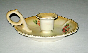 Antique Austria Porcelain Chamber Candle Holder Finger Ring Drip Tray