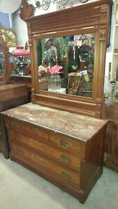 Antique Large Dresser W Mirror And Marble Top Eastlake Walnut