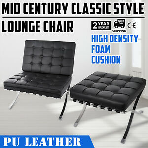 Mid Century Classic Style Leather Lounge Chair High Density Hand Buffed Classic