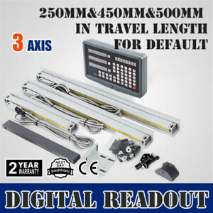 3 Axis Dro Digital Readout F Milling Lathe 3pcs Linear Glass Scales 250 450 500