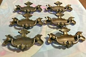 Lot Of 6 Vintage Chippendale Brass Drawer Pulls Bail Bat Wings Antique Brass