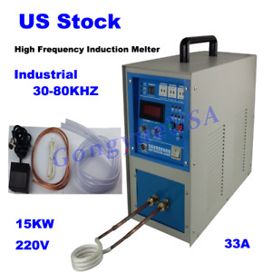 High Frequency Induction Heater Melt Furnace Water Cool 220v 30 80khz 33a 15kw