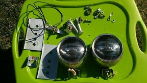 Vintage Per Lux 36a Fog Light Lamp With Mounting Bracket Box Hardware Pair