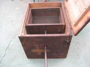 Antique Early Primitive Grain Box Wood Box With Sifter Handle
