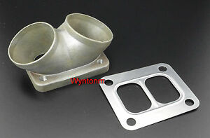 T4 Divided Turbo Inlet Flange Twin 2 5 Tapped Mild Steel Adapter Ss Gasket