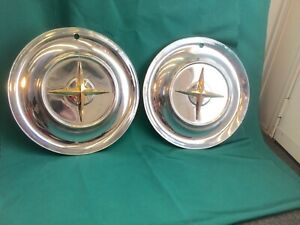 Rare Vintage Set Of 2 1954 Chrysler 15 Hubcaps New Yorker Good Condition Nice