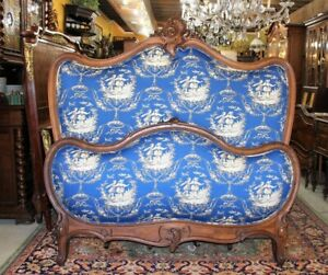 1 2 Payment French Antique Walnut Queen Size Wooden Bed With New Upholstery
