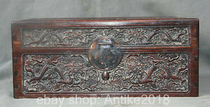 40cm Old Chinese Rosewood Dynasty Carved Dragon Ball Storage Jewelry Box Chest