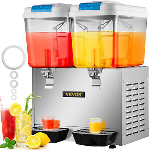 Commercial Juice Beverage Dispenser Machine Cold Frozen Ice Drink 18l X 2 Tank