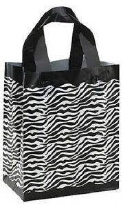 Plastic Bags Frosted 100 Zebra Print Frosty Shopping Merchandise 8 X 5 X 10 H