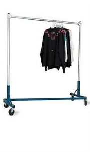 Clothing Garment Rack Z Truck Rolls Adjustable Rail Casters 500 Lbs 66 H X 63