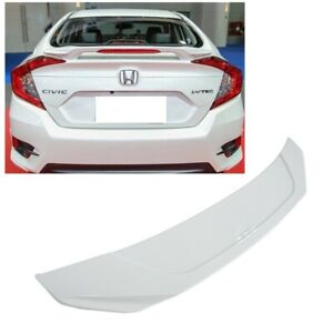 For 16 20 Honda Civic Sedan Painted Taffeta White Trunk Abs Spoiler W Led Light